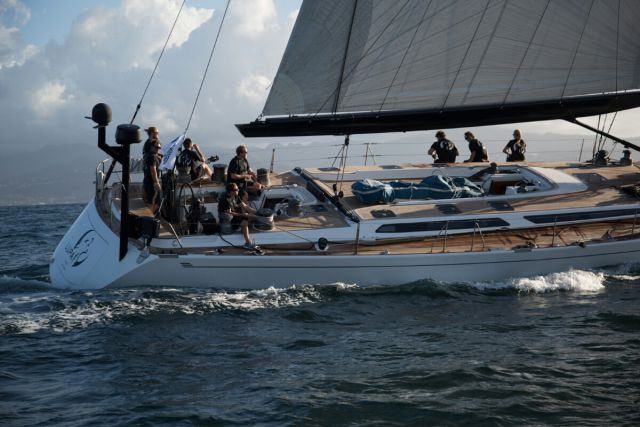 Lupa of London crosses the finish line of the RORC Transatlantic Race. Photo: RORC/Arthur Daniel and Orlando K Romain