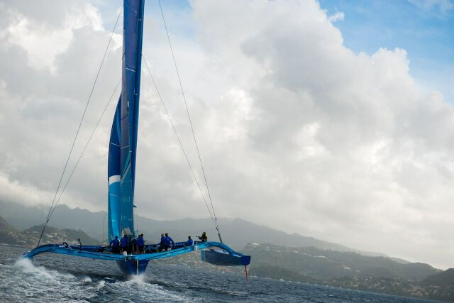 Tony Lawson's MOD70, Ms Barbados (Concise 10) Skippered, Ned Collier Wakefield comes into Port Louis, Grenada at the finish of the RORC Transatlantic Race from Marina Lanzarote © RORC/Orlando K. Romain