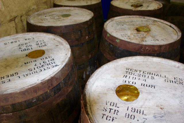 Westerhall barrels containg 198 litres of 3 year old rum at 80.7% strength ready for processing and bottling. Photo: RORC / Louay Habib