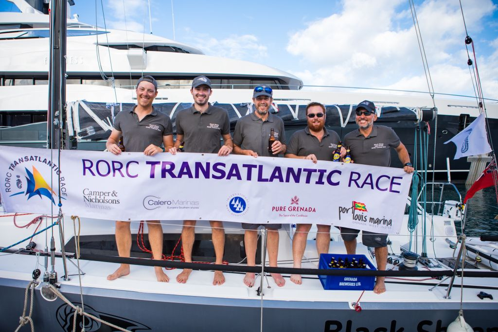 Second overall after IRC time correction for the smallest boat in the competition: Trevor Middleton's Sun Fast 3600 Black Sheep.  Team Black Sheep: Paul Hardy, Matthew Morton Trevor Middleton, Jacob Carter, Joe Simmons © RORC/Arthur Daniel