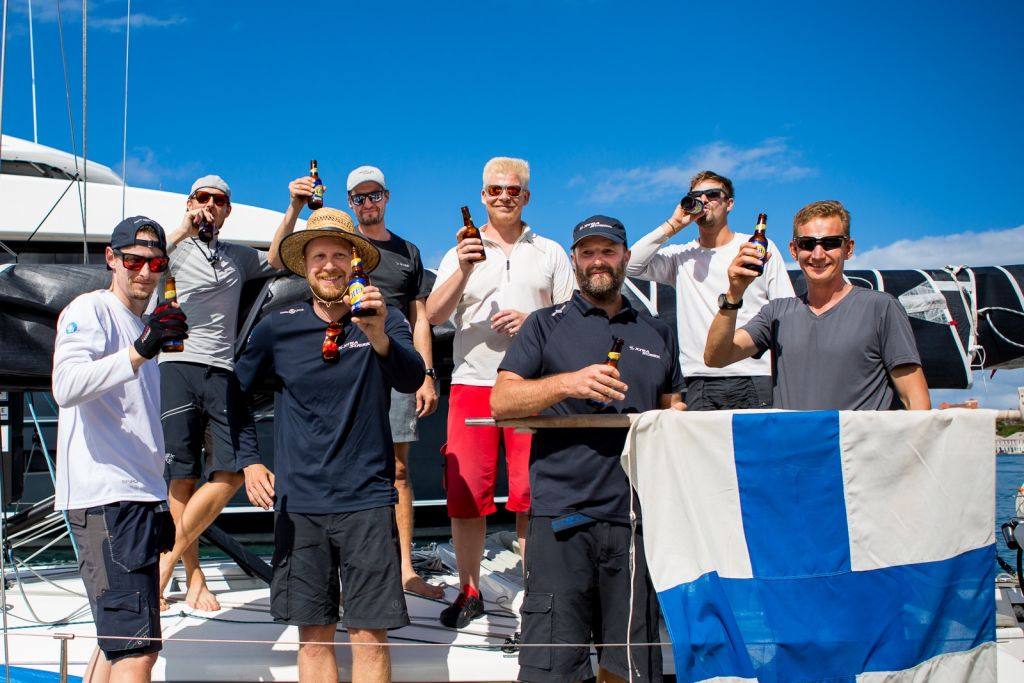 Arto Linnervuo's Finnish Xp-44 Xtra Staerk finished the race on the 11th December in an elapsed time of 17 days 01 hrs 40 mins and 24 secs. The all-Finnish team is on a mission to promote offshore sailing in Finland © RORC/Arthur Daniel