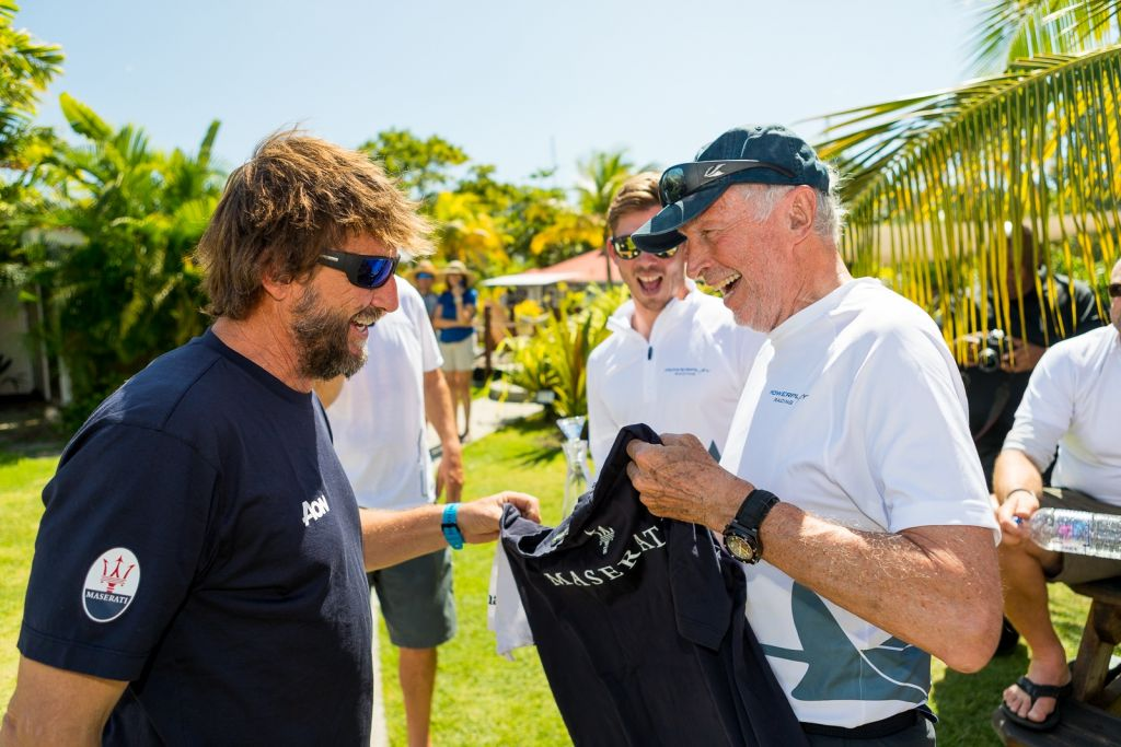 Brothers in arms - Giovanni Soldini (Maserati) swaps his team shirt with Peter Cunningham (PowerPlay) before the prizegiving in Grenada © RORC/Arthur Daniel