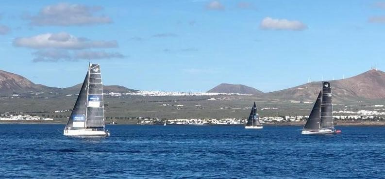 Class40s at the start of the RORC Transatlantic Race from Marina Lanzarote - Sirius, Eärendil and Hydra © RORC