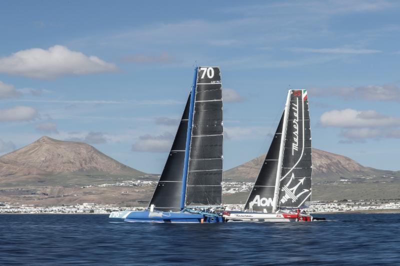 Enjoying a duel through the Canary Islands: Peter Cunningham's MOD70 PowerPlay and Giovanni Soldini's Multi 70 Maserati . RORC Transatlantic Race © Mikel Prieto