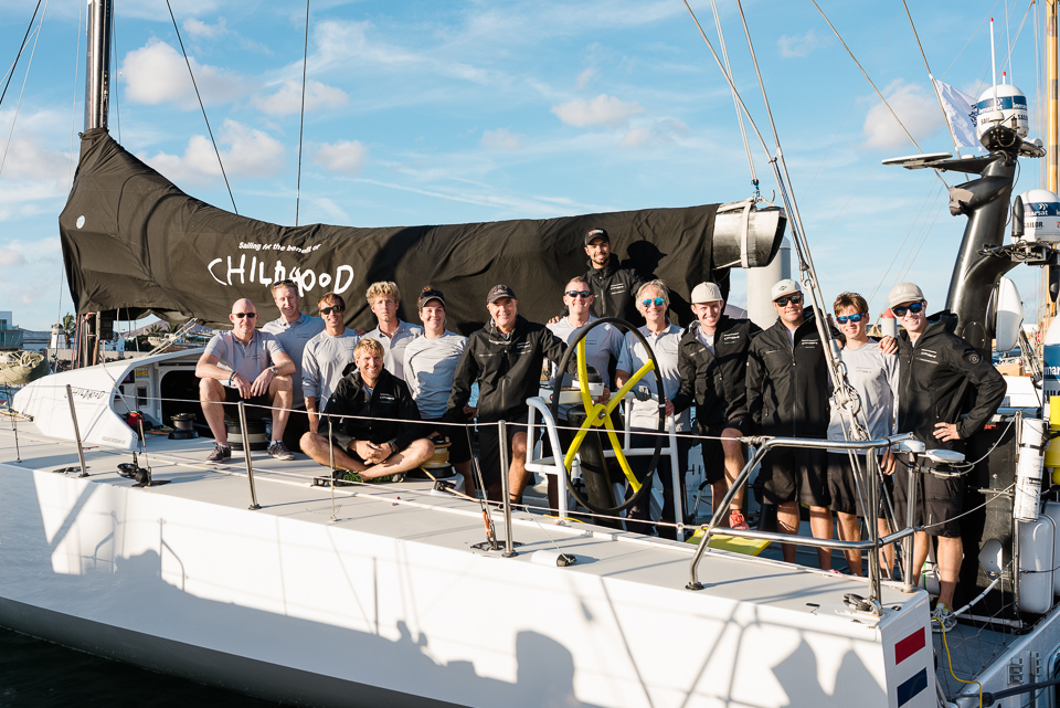 The crew of VO65 Childhood I assemble on deck pre-race © RORC/Joaquin Vera
