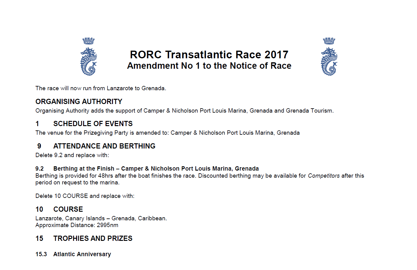 RORC Transatlantic Race 2017 Amendment No.1. to the Notice of Race