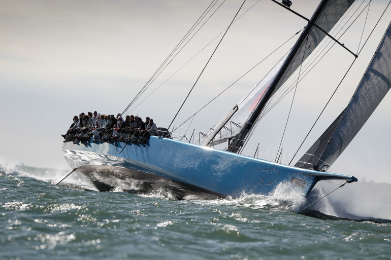 Mike Slades 100ft canting keel Maxi Leopard 3 RORC/Paul Wyeth