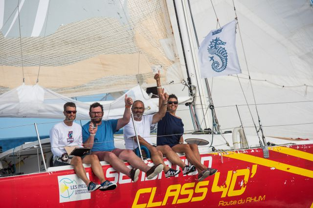 Sensation Class40 finishing RORC Transatlantic Race 2014 Credit: RORC / Arthur Daniel & Orland K Roamain