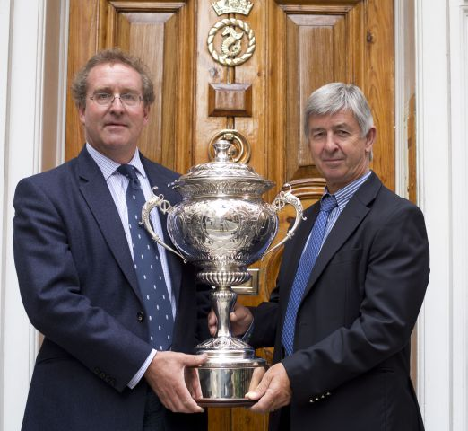 RORC Commodore, Mike Greville, and CEO, Eddie Warden Owen with the trophy Credit: RORC/onEdition