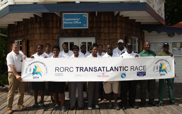 Glynn Thomas and staff at Port Louis Marina ready for the first arrivals. Photo: RORC/James Bremridge