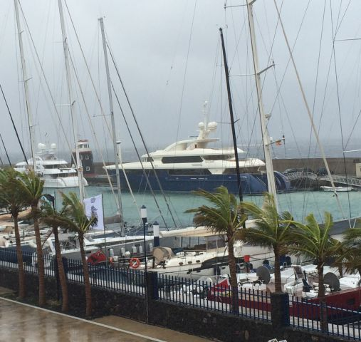 Squalls, registering up to 60 knots(!), have been sweeping through Puerto Calero Marina. Credit: RORC/Louay Habib