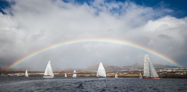 Rainbow Heralds RORC Transatlantic Race Start. Photo: RORC/James Mitchell