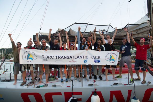 The crew celebrate their achievement at the finish of the race in Grenada. Credit: RORC/Arthur Daniel and Orlando K Romain