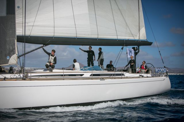 The crew onboard the Baltic 78, Lupa of London, at the start of the RORC Transatlantic Race. Credit: RORC/James Mitchell
