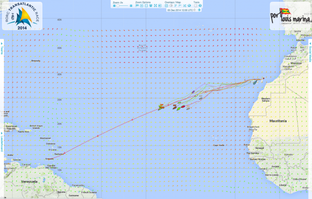 The position of the fleet at 1215 on Friday 5th December 2014
