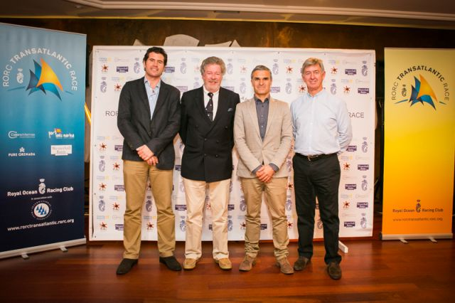 José Juan Calero, Andrew McIrvine, Hector Fernandez, Director of the Tourist Board, Lanzarote, Eddie Warden Owen. Credit: RORC/James Mitchell
