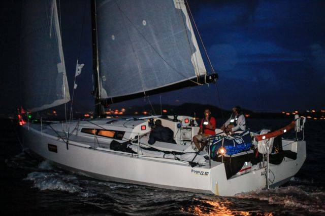 Maurice Benzaquen's French Pogo 1250, Aloha cross the finish line of the RORC Transatlantic Race. (RORC/Arthur Daniel)