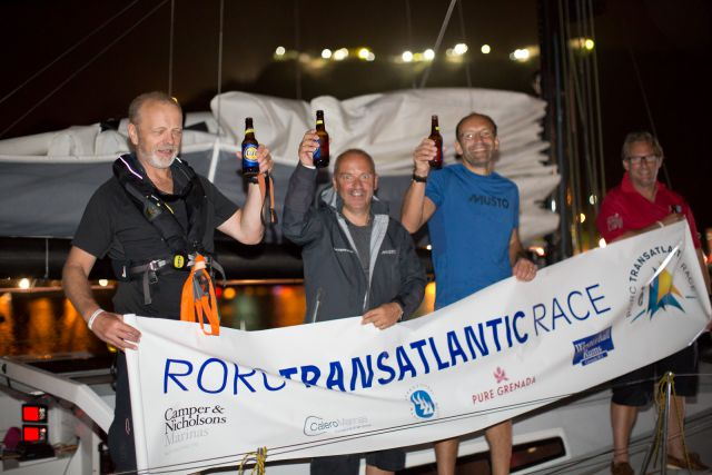The crew of Mike Gascoyne's Class 40 Silvi Belle 2 celebrate completing the RORC Transatlantic Race 2015 Photo: RORC / Arthur Daniel