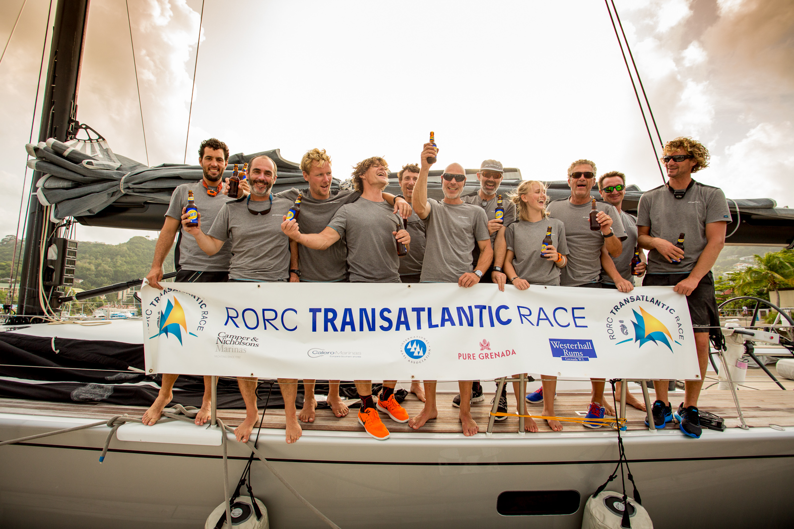 Three cheers and a warm welcome dockside for Aragon who finished the RORC Transatlantic race in Port Louis. After IRC time correction, the Dutch Maxi is leading the race for the RORC Transatlantic Race Trophy © RORC/Arthur Daniel