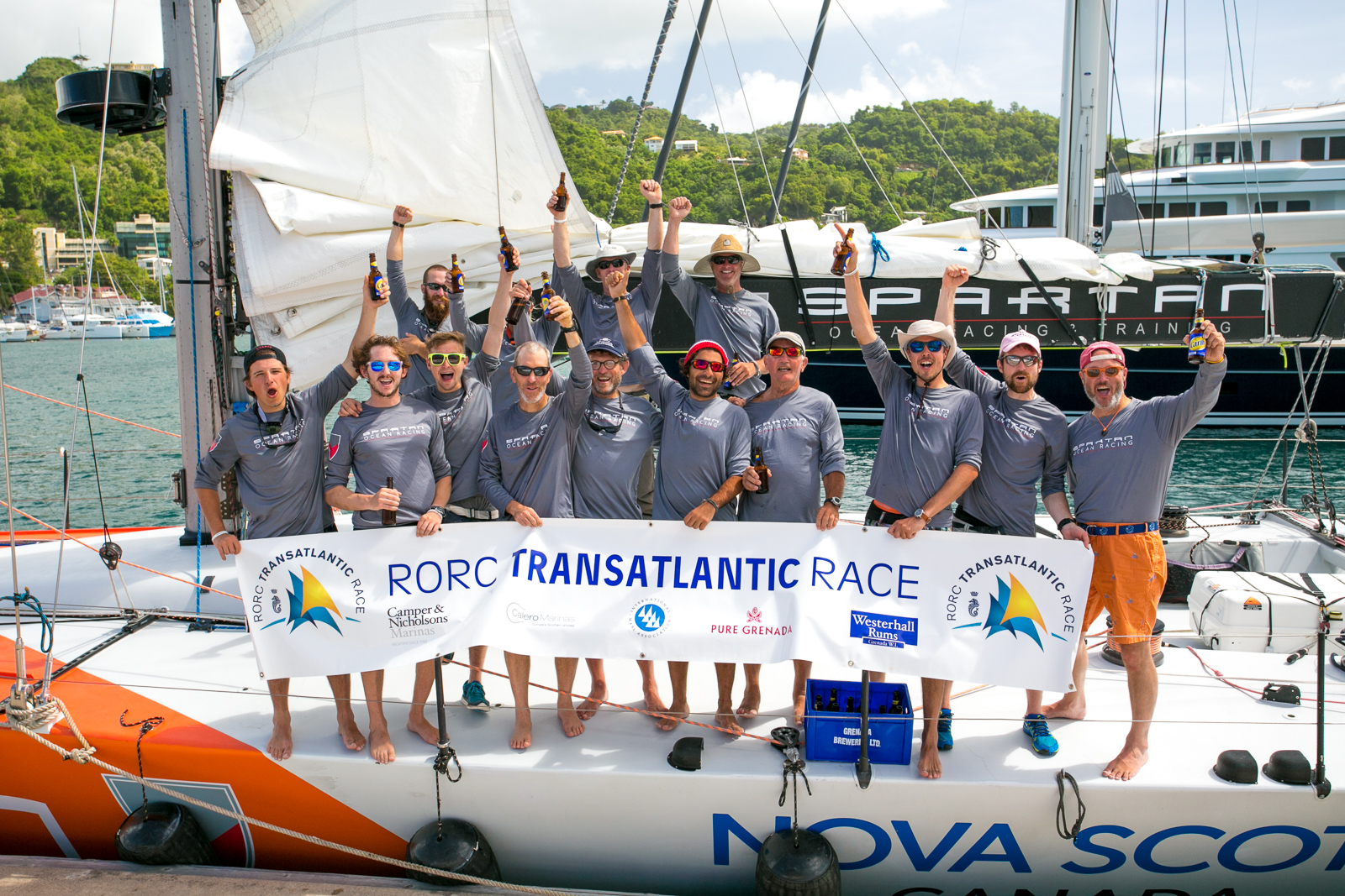 "What an achievement. ""We've crossed the Atlantic!"" Cheers on the dock as the crew of the Nova Scotia-Based sail training vessel, Challenger complete the RORC Transatlantic Race from Lanzarote to Grenada in 18 days © RORC/Arthur Daniel"