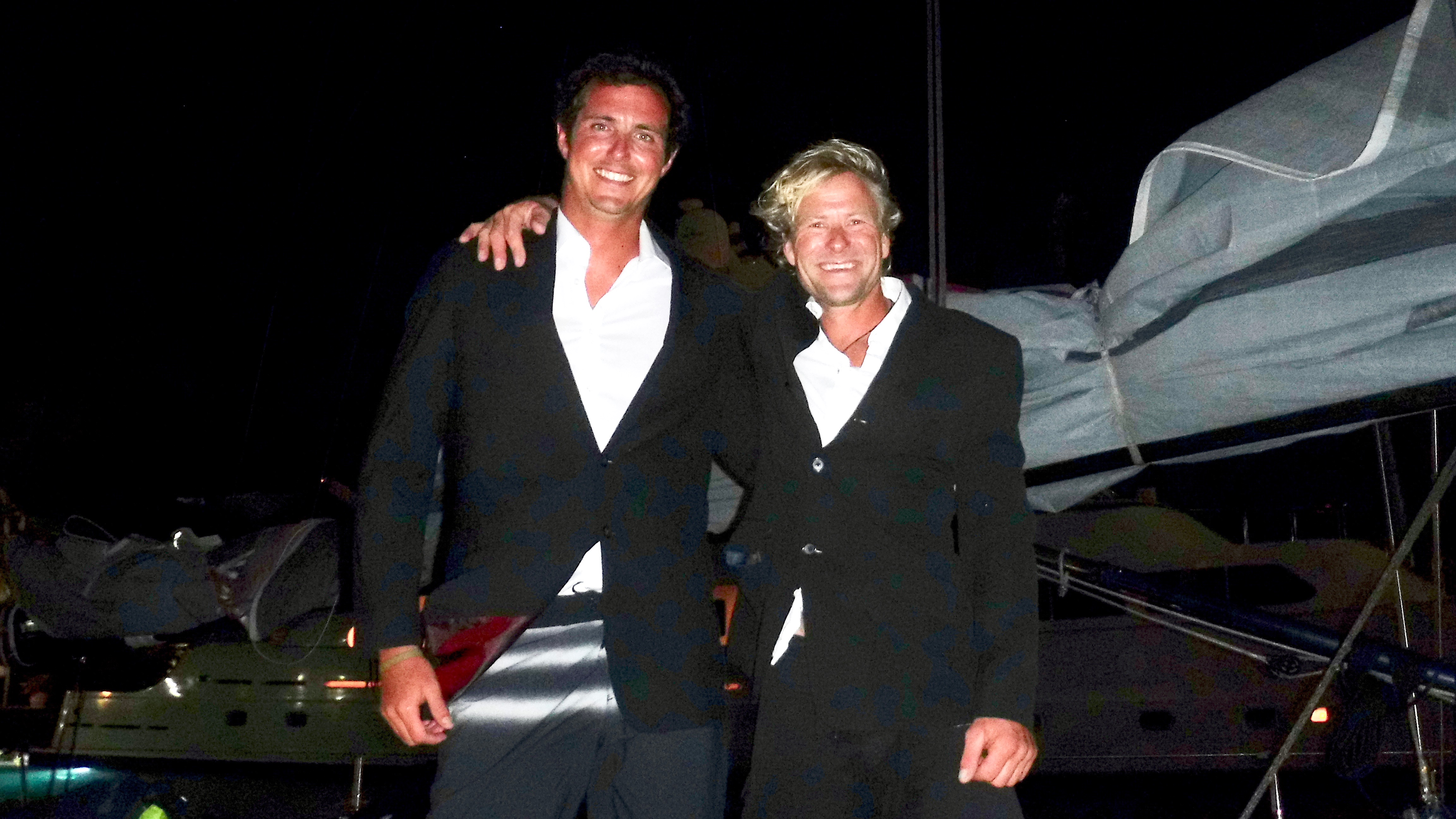 James Heald and Ben Harris resplendent in dinner jackets having successfully completed the RORC Transatlantic Race 2016. Photo: RORC/Louay Habib