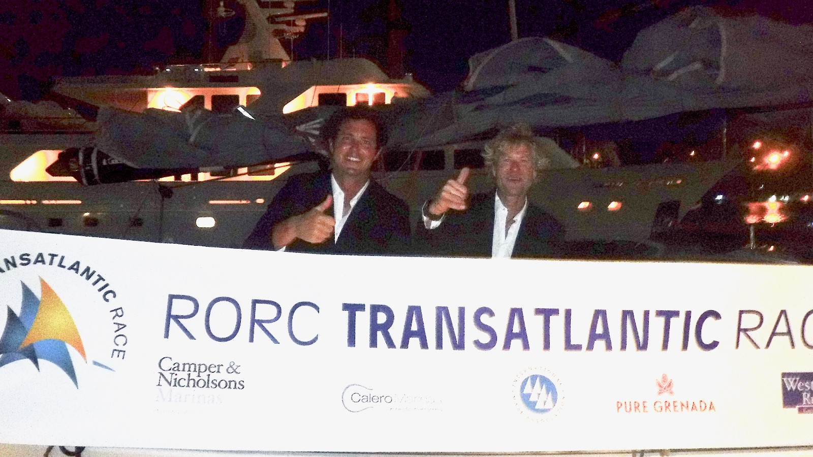 James Heald and Ben Harris give the RORC Transatlantic Race 2016 the thumbs up. Photo: RORC/Louay Habib