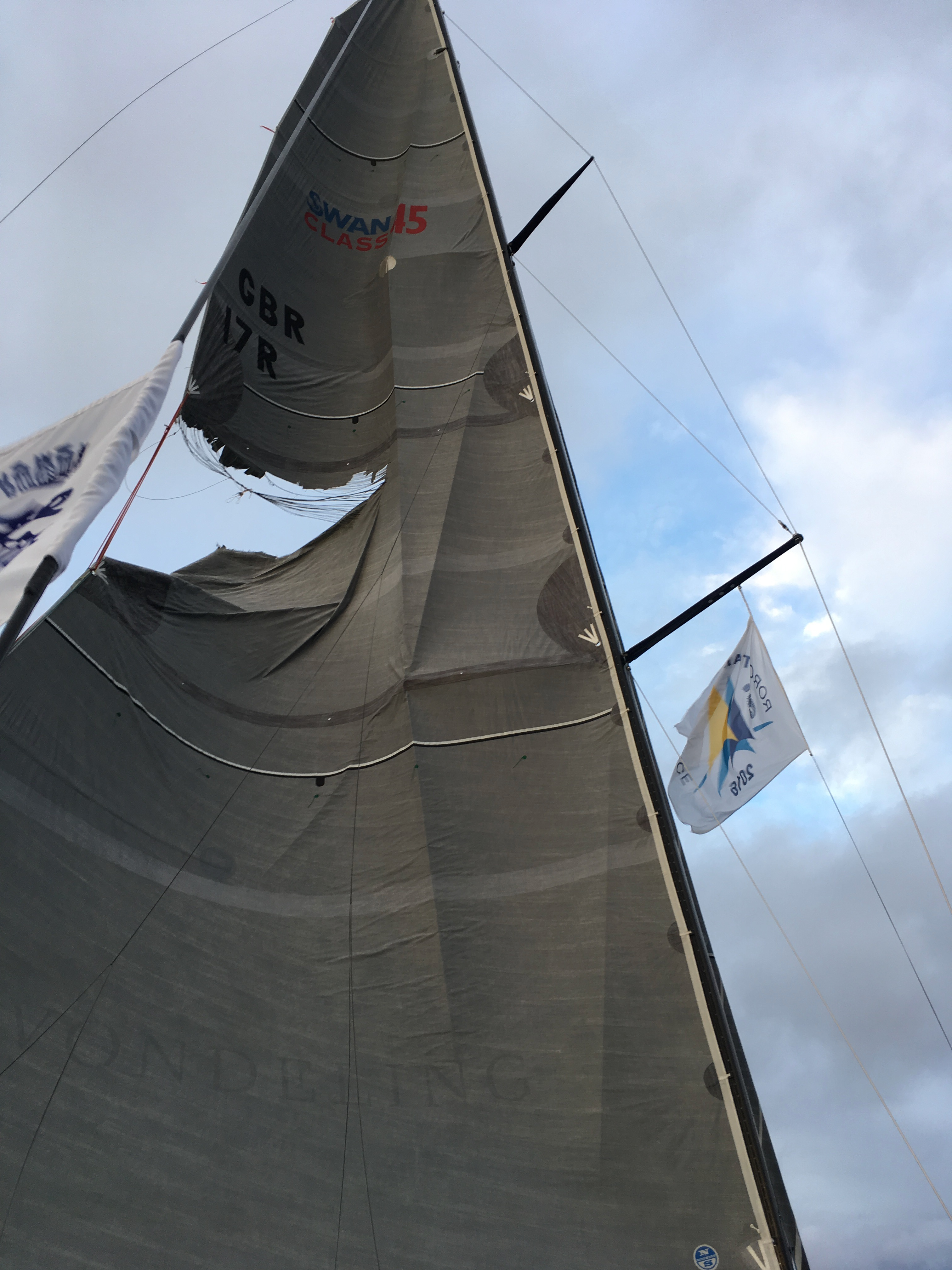 The mainsail of Nemesis which split more than half way across from the leech. Photo: James Heald