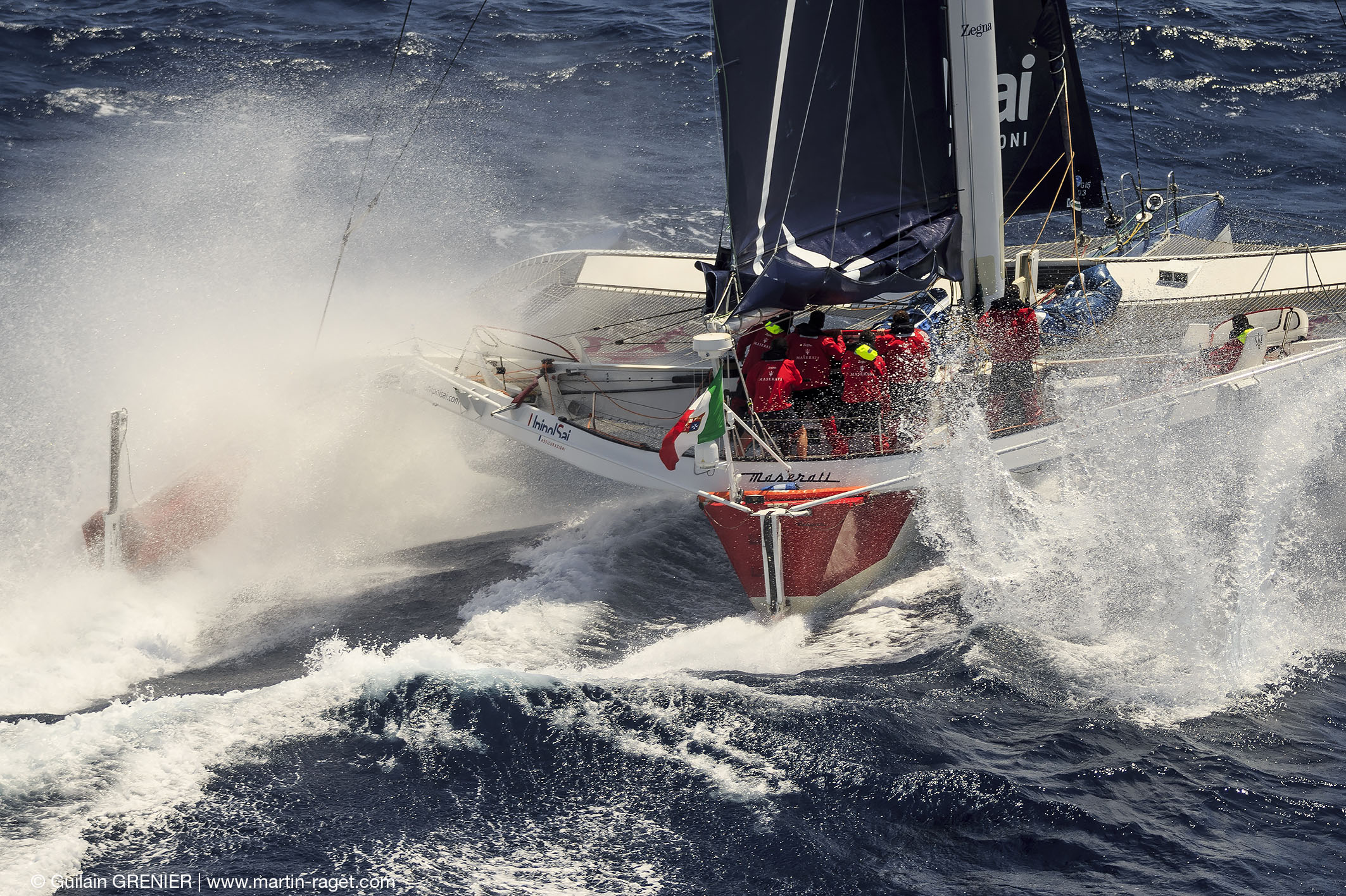 First time across the Atlantic with the new foils for Giovanni Soldini's MOD70, Maserati  © Guilain Grenier/www.martin-raget.com