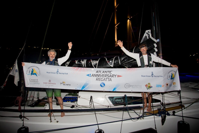 IRC Two and IRC Two Handed victory for experienced offshore sailors (L to R) Rupert Holmes and Richard Palmer. The pair have sailed thousands of miles together and the RORC Transatlantic Race is the start of their 2018 RORC race season, with the RORC Caribbean 600 as their next race in February © RORC/Arthur Daniel