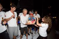 Tilmar Hansen, owner of Elliott 52 Outsider receives a welcome basket from Grenada Tourism Authority on arrival at Port Louis © RORC/Arthur Daniel