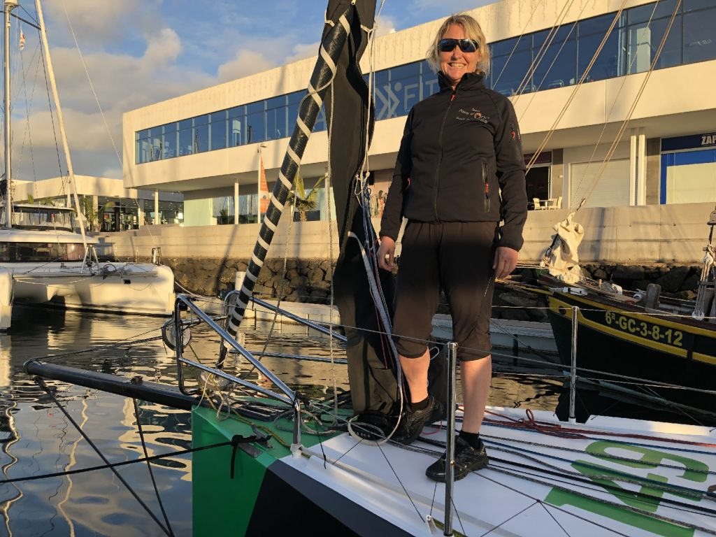 Pip Hare on Henrik Bergesen's Norwegian Class40 Hydra in Marina Lanzarote before the start © RORC