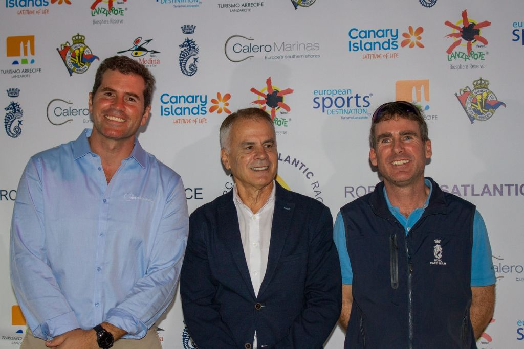 Welcoming teams to the 2018 RORC Transatlantic Race opening reception: José Juan Calero, Calero Marinas, Julio Romero, President of the Real Club Náutico de Arrecife, Tim Thubron, RORC Deputy Racing Manager © Pilar Hernandez/Calero Marinas