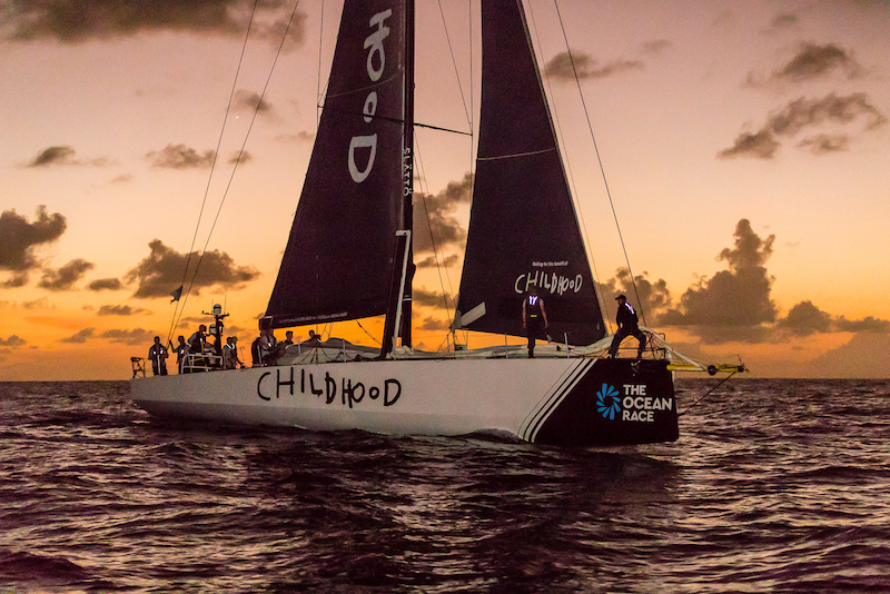 Swedish VO65 Childhood 1 crossing the finish line in the 2019 RORC Transatlantic Race. Photo © RORC / Arthur Daniel