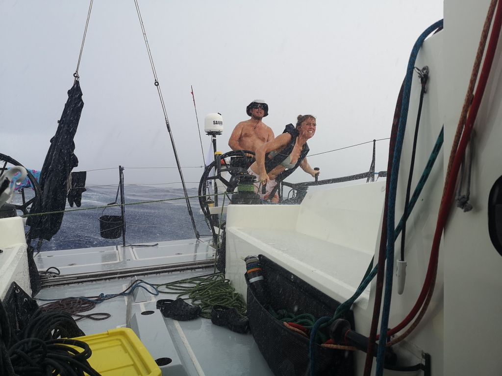 Skipper Andy Lis at the helm with Amy Seabright on kite trim use an uber Atlantic squall to maximise performance - Pata Negra Blog