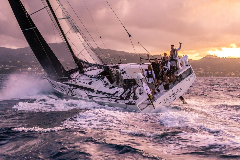 All smiles in Grenada - Andy Lis and the young crew racing on Giles Redpath's Lombard 46 Pata Negra completed the RORC Transatlantic Race in an elapsed time of 15 days 22 hrs 58 mins 13 secs © RORC/Arthur Daniel