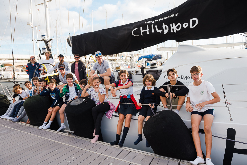 Sailing school children from Arrecife's RCNA enjoyed a tour of Volvo 65 Childhood I, who are promoting the World Childhood Foundation for the protection of chidren worldwide © RORC