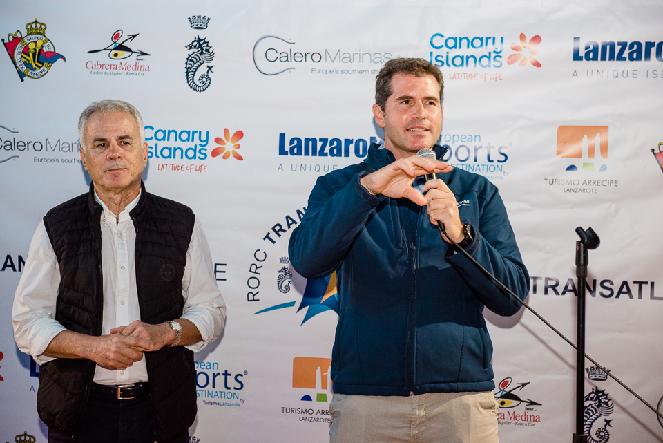 L to R: Julio Romero, President Real Club Náutico de Arrecife and José Juan Calero, CEO of Calero Marinas welcome RORC Transatlantic Race teams © RORC