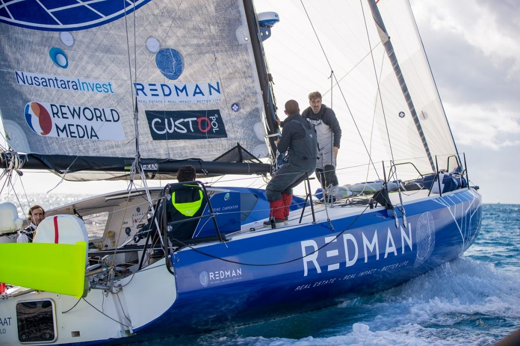 Antoine Carpentier and team on the Class40 Redman have resolved their starboard rudder problem © James Mitchell/RORC