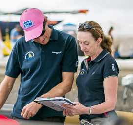 Stephen and Anthea Weekes carrying out Safety Checks - photo RORC/James Mitchell