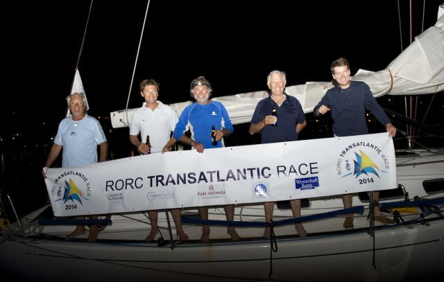 Frank Lang and his crew arrive in Camper Nicholsons marina in Grenada at the finish of the RORC Transatlantic Race - photo RORC/Arthur Daniel & Orlando K Romain