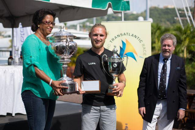 Fred Pilkington is presented with the RORC Transatlantic Race Trophy - Photo RORC/Arthur Daniel and Orlando K Romain