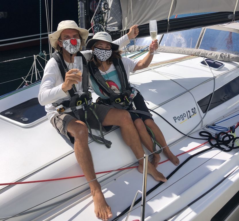 Tim & Mayumi Knight at the finish of the 2021 RORC Transatlantic Race in Antigua