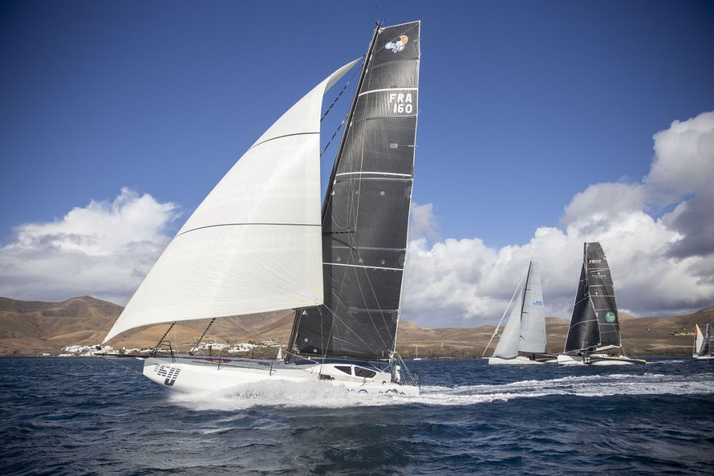 Start of the 2021 RORC Transatlantic Race from Puerto Calero, Lanzarote .The fleet, including Class40 Palanad 3, Black Pearl IRC56 and  Rayon Vert will race 2,735 nm to the Caribbean in the 7th edition of the race © James Mitchell/RORC