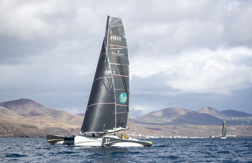 Oren Nataf's Multi50 Trimaran Rayon Vert, skippered by Alex Pella © James Mitchell/RORC